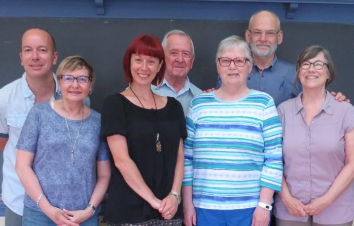 De gauche à droite : François Gingras, Madeleine Coutu, Virginie Dufresne, Rénald Roy, Diane Vaillancourt, Yvan Lemieux et Michèle Perron.